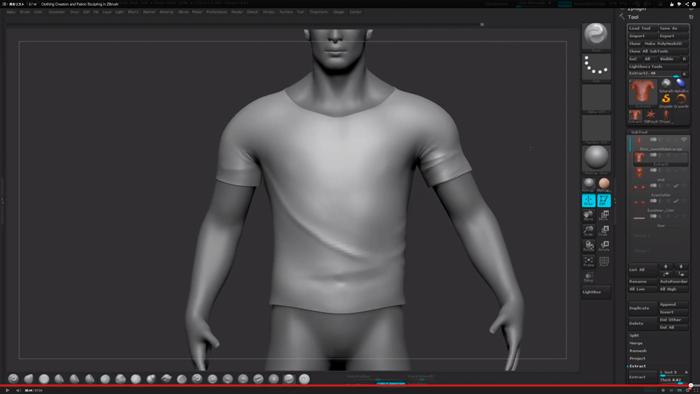 ZbrushでT-shirtを作るチュートリアル動画
