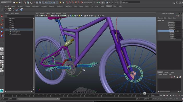 MAYAで自転車のチェーンを回転させるリグ チュートリアル動画