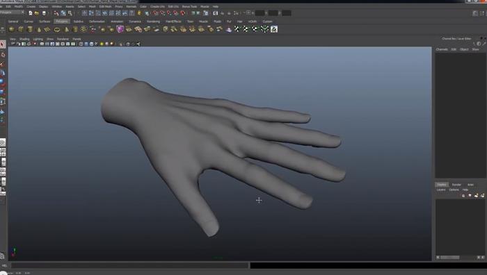MAYAでリアルな手をモデリングするチュートリアル動画