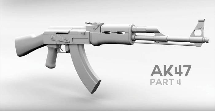 MAYAでAK47の銃をモデリングするチュートリアル動画