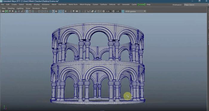 初心者向け。柱のある丸く曲線のある建物をMAYAでモデリングする