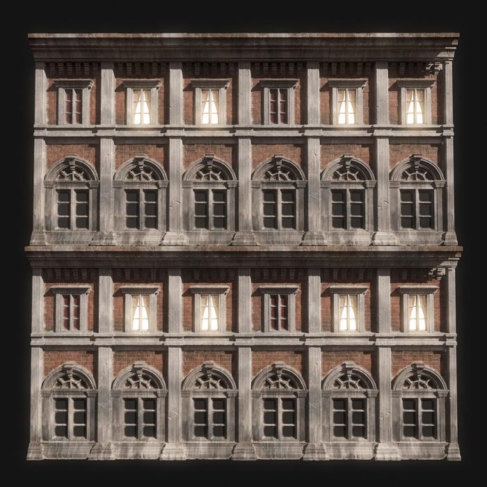 モデリングされた建物かと思いきやサブスタンスデザイナーで作られたテクスチャーが貼られた作品